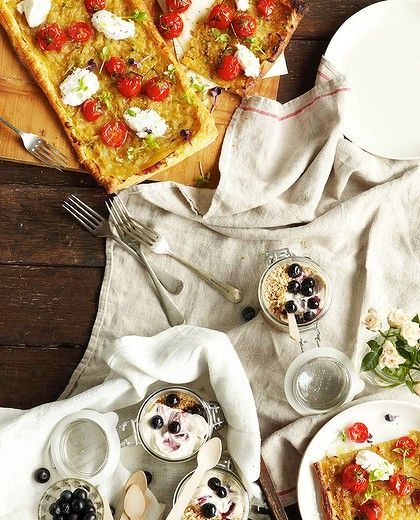 Rustic onion tarts. Styling by Bhavani Konings. Dinner plates from Mud ...