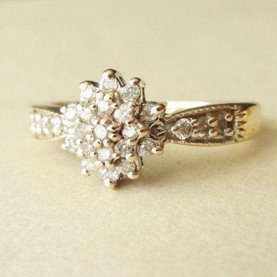 Vintage Engagement Ring 9k Gold Diamond Flower Cluster Ring Diamond…