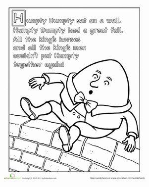 Humpty dumpty nursery rhyme for Nursery rhyme coloring pages preschool