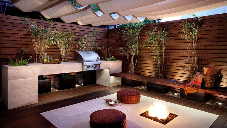 Outdoor kitchen small yards big designs pinterest for Small backyard kitchen designs