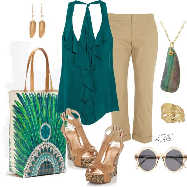Teal Top & Feather Tote, created by lisa-sanner on Polyvore