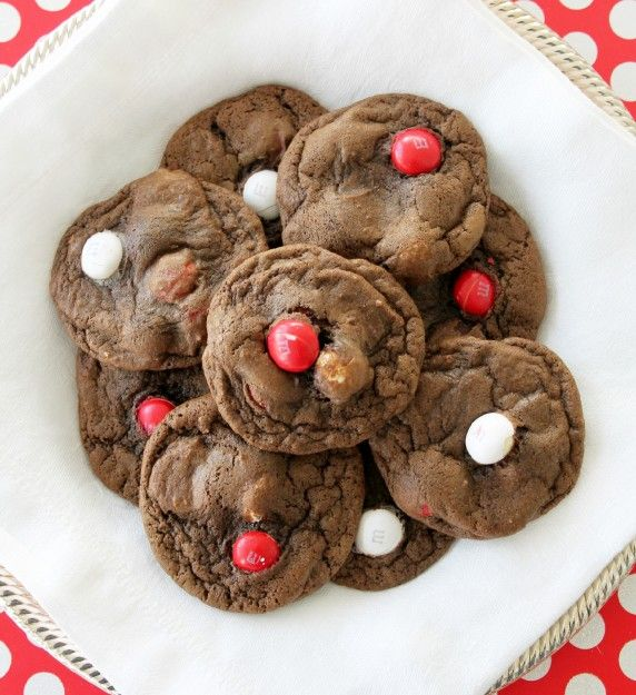 double chocolate chip cookies with white chocolate peppermint m amp m ...