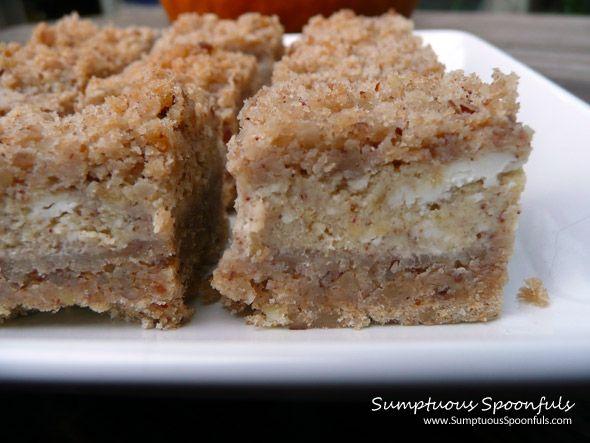 ... Pumpkin Cheesecake Squares ~ Sumptuous Spoonfuls #pumpkin #cheesecake