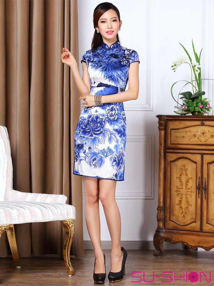 White With Blue Printed Silk Qipao Traditional Qipao Oriental Styles Custom Made Cheongsam Qipao