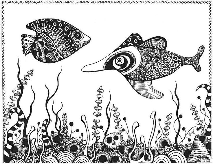 "Aquarium zentangle - Micron pens on 9"" x 12"" Bristol - by Monica Moody"