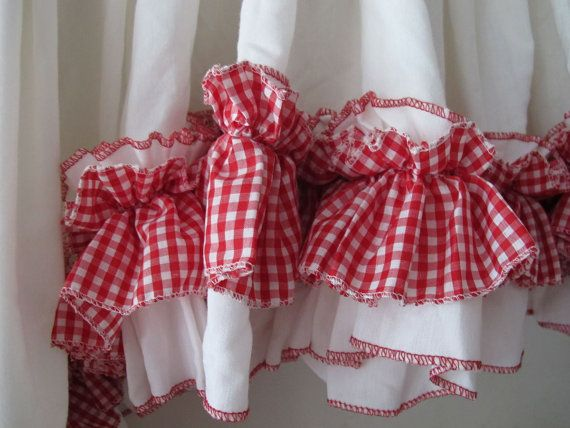 Wide red check ruffled valance kitchen window curtains ruffled swag