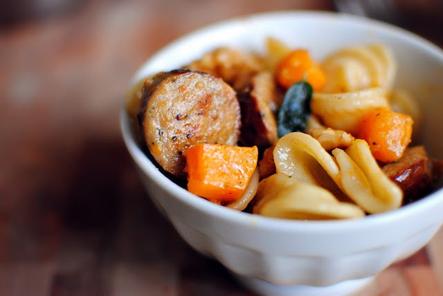 ... squash, sausage, and orecchiette pasta in a brown butter sage sauce