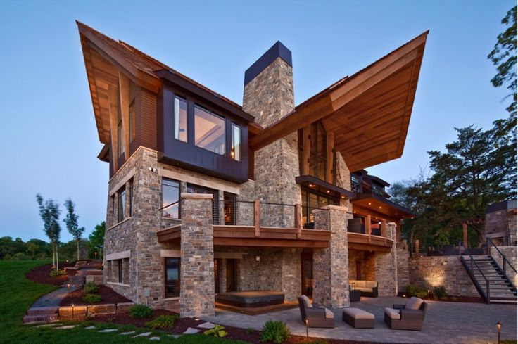 Modern wood stone home architecture pinterest for Modern stone houses architecture