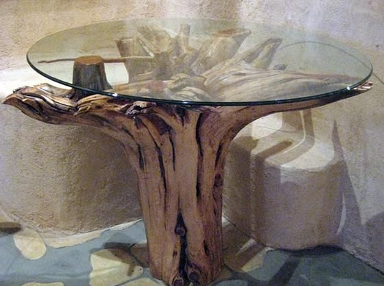 Tree Stump Glass Table Decorating Organization Ideas
