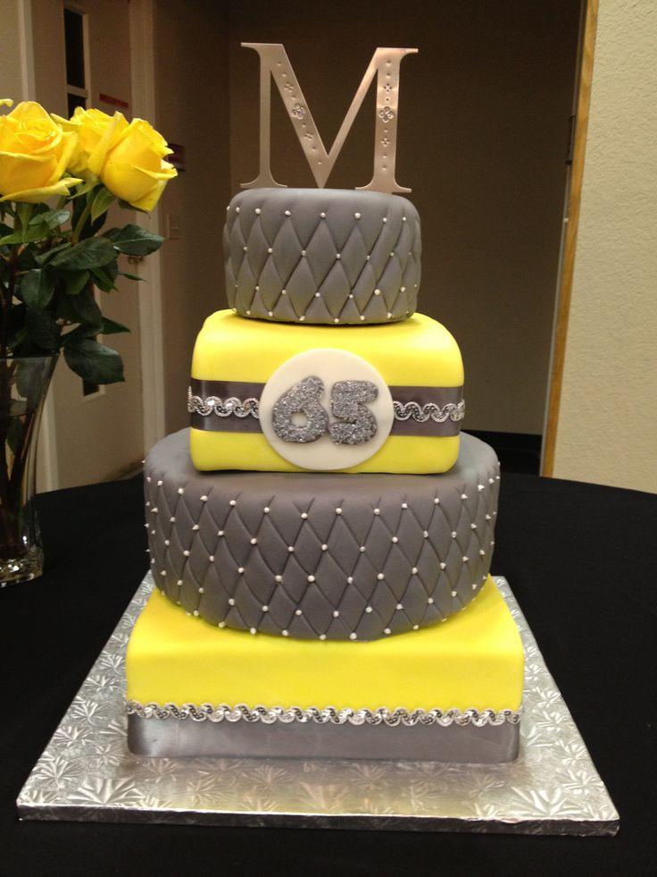 Gray and yellow birthday cake | Cakes and baking | Pinterest