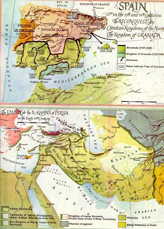 Map of Spain in the 13th and 14th centuries