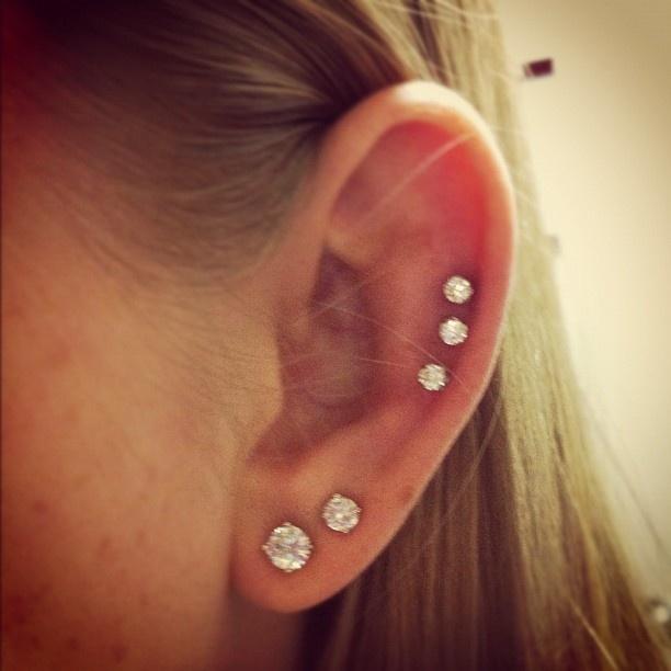 Triple cartilage piercing | Pretty Piercings | Pinterest