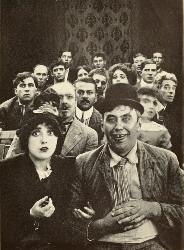 Mabel Normand and Mack Sennett with Keystone players
