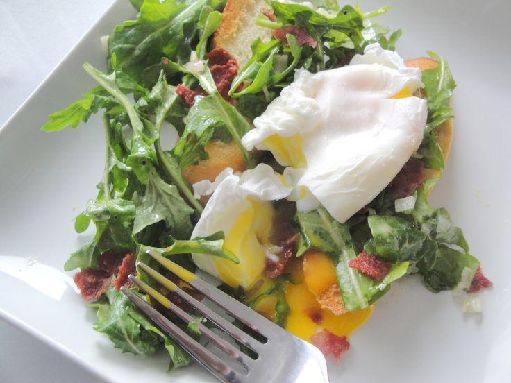 Poached Egg and Arugula Salad Bruschetta | Breakfast | Pinterest