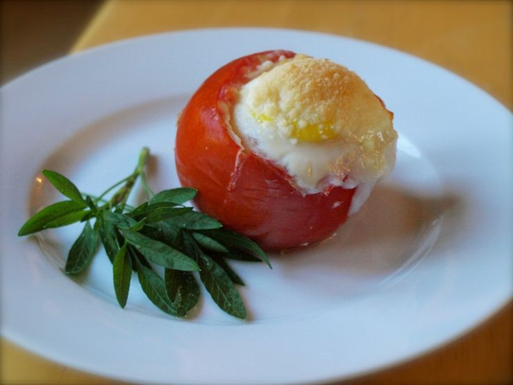 Baked Eggs in Two-Cheese Tomato Cups. Three of my favorite foods ...