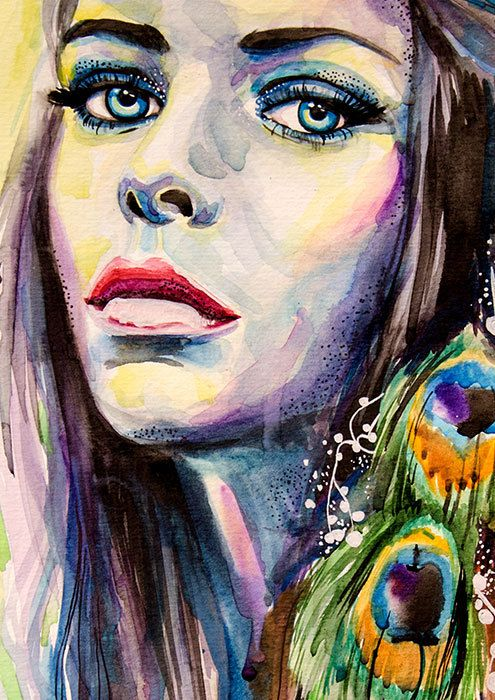 Peacock girl watercolor painting print 16 x24 40x60cm for Basic portrait painting