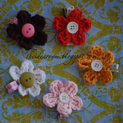 Crochet Hair Flowers : hair clips- crochet Crochet Pinterest