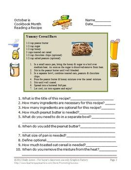 Life Skills Reading a Recipe Comprehension Worksheet Special Education
