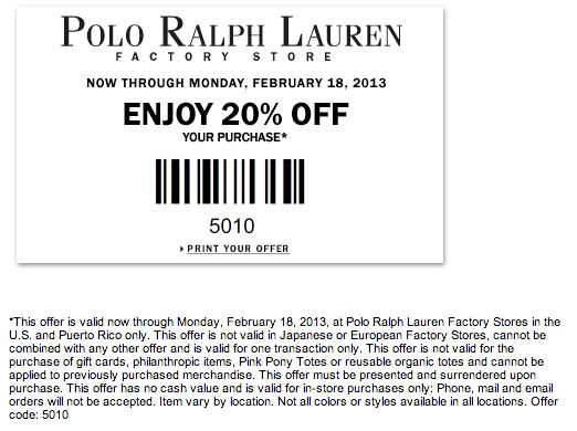 Ralph lauren in store coupon 2018