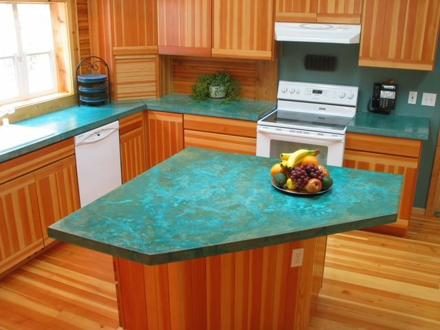 Concrete countertop - turquoise! | home renovations ...