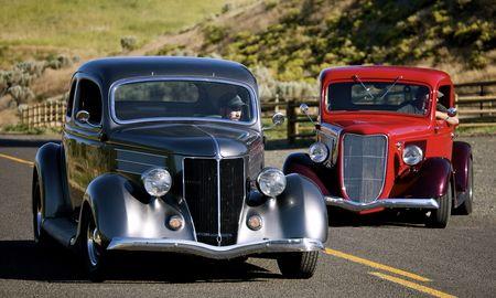 , ford, vintage, hotrod, 1934, 1936, 5, car, antique, street, window