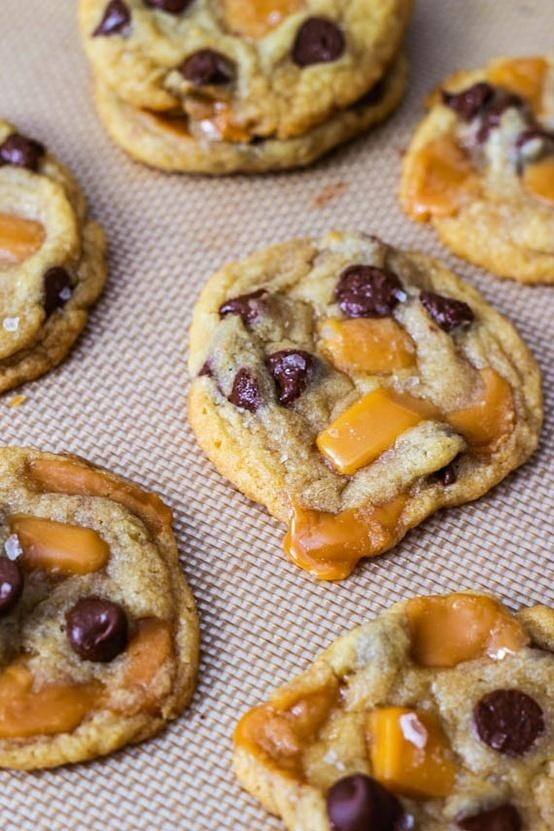 Salted Caramel Chocolate Chip Cookies - not a fan of the salted part ...