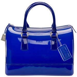 royal blue patent leather Furla bag