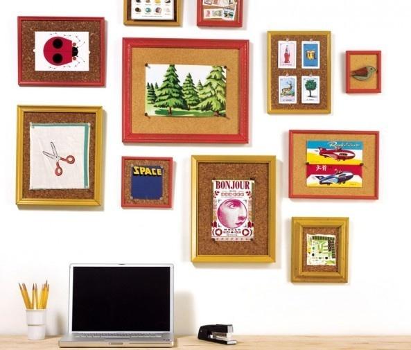framed cork makes rotating art easier