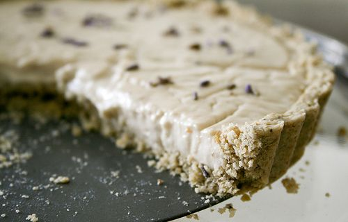 tart with oatmeal lavendar crust (and blueberry sauce) --- gluten free ...