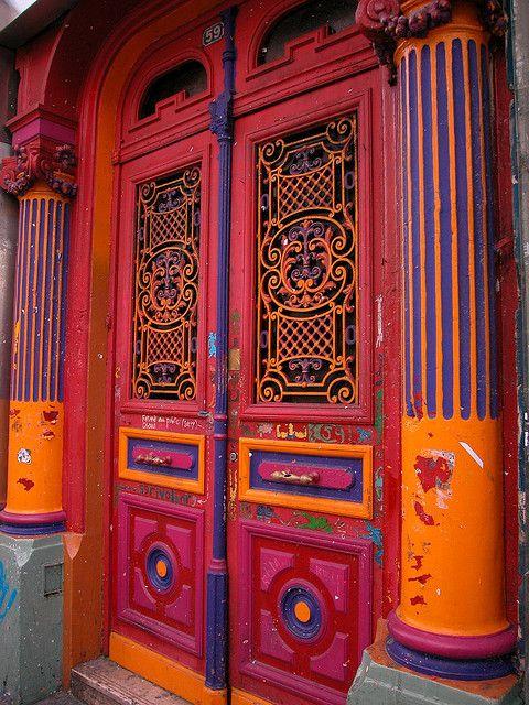 Colorful doorway in Paris.  Photo by Dominique Plourde