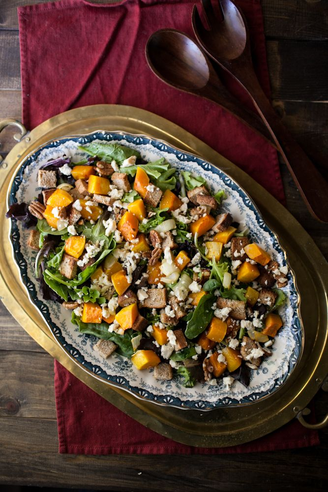 Honey-Roasted Butternut Squash and Blue Cheese Salad | Naturally Ella