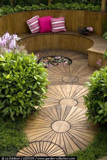 Circular design garden outdoor living pinterest for Circular garden designs