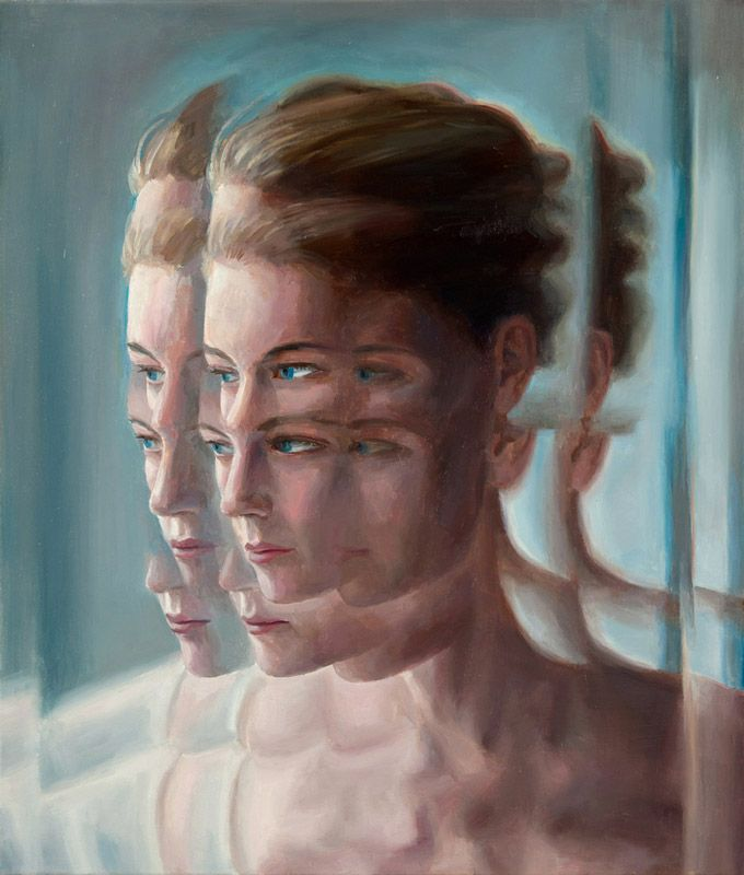 Soul Out is a series of paintings by Berlin-based artist Deenesh Ghyczy. Looking at his images is like looking through a frosted glass window. The artist uses optical filters to view his subjects as he paints the oils on canvas, so that parts of the figures repeat and cascade away from the central focus in hazy and dreamy distortions.