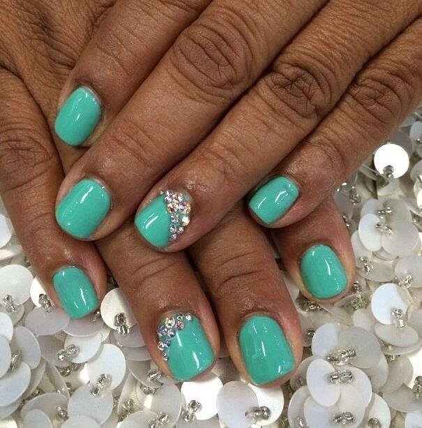 Gel manicure with Swarovski   Claws   Pinterest