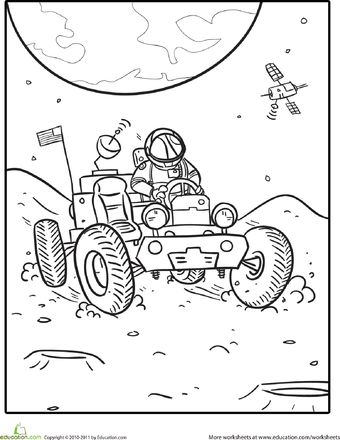 Outer space coloring lunar rover for Outer space coloring page
