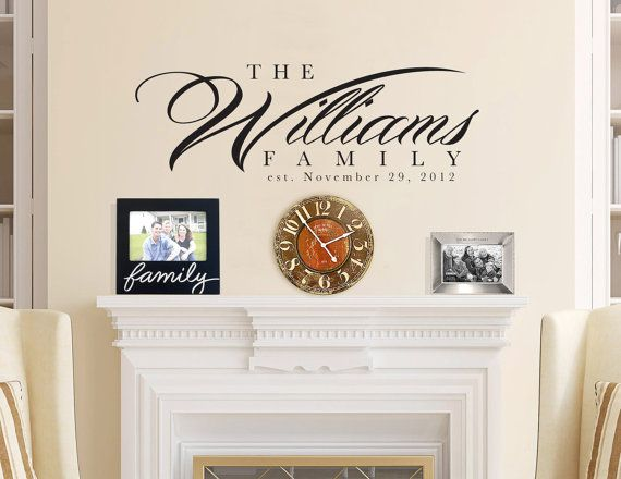 36x14 personalized family name wall del for interior home. Black Bedroom Furniture Sets. Home Design Ideas