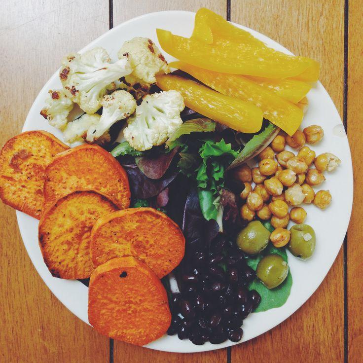 Roasted sweet potato, cauliflower, chickpeas, black beans, yellow ...