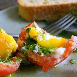 Romaine Pesto and Egg-stuffed Tomatoes — Punchfork