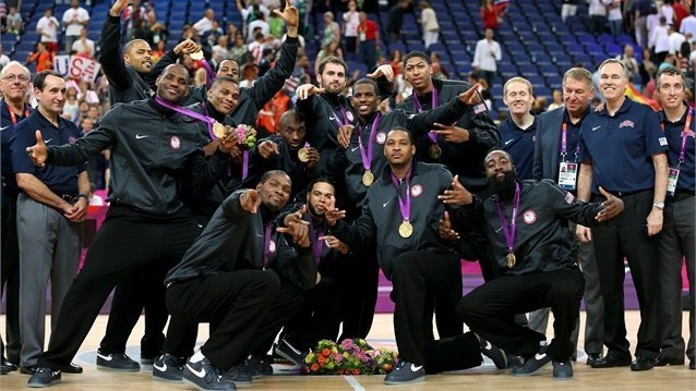 Gold medallists the United States pose following the Victory ceremony for the Men's Basketball on Day 16 of the London 2012 Olympics Games at North Greenwich Arena