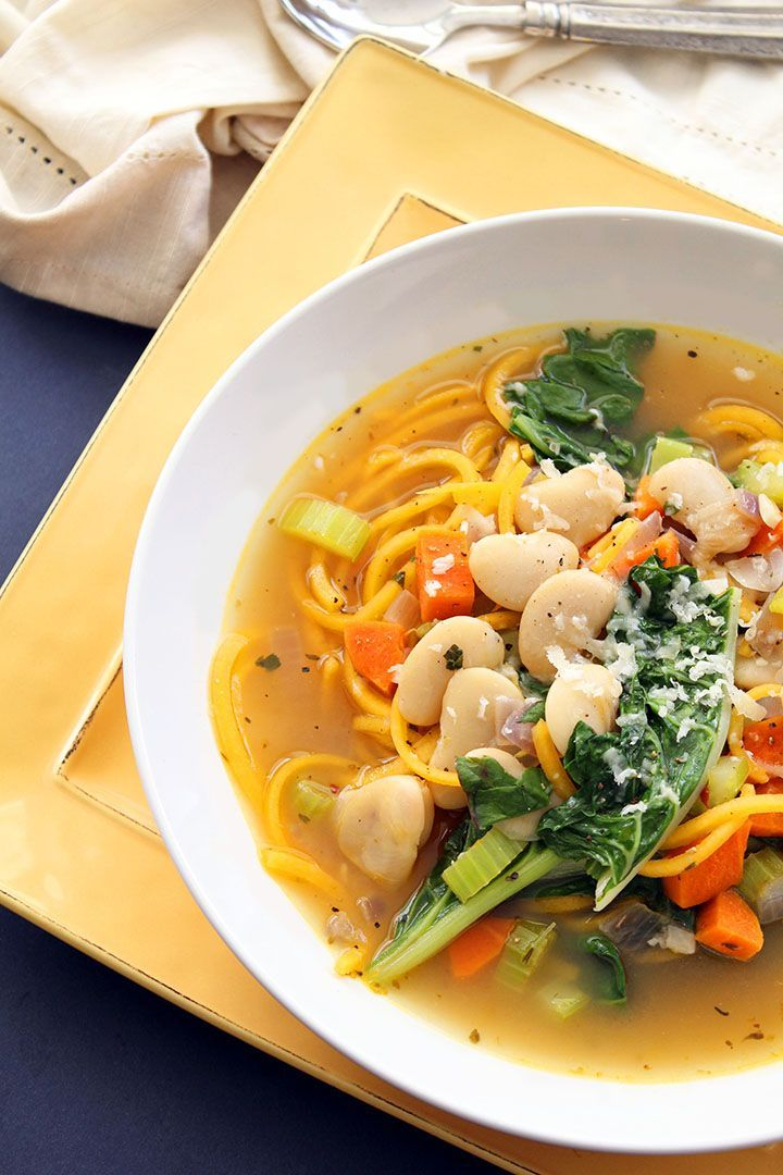 Butternut Squash Noodle Autumn Soup with Swiss Chard and Butter Beans
