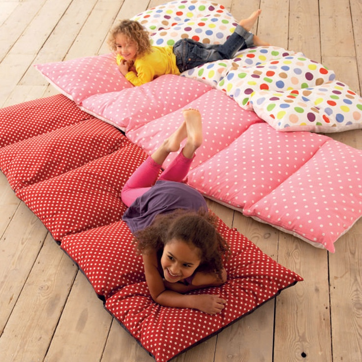 Pillow Bed:  step 1 - sew 5 pillow cases together  step 2 - insert pillows  step 3 - sew closed Awesome idea for kindergarten!