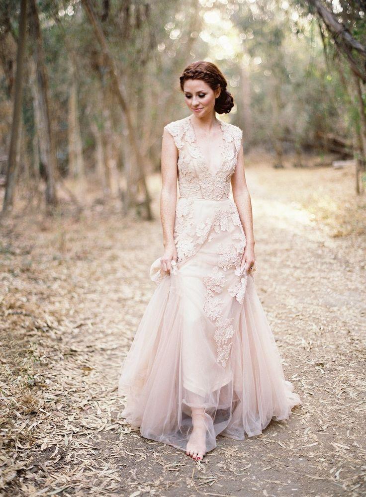Blush dress with lace details on chiffon wedding bells for Lace blush wedding dress