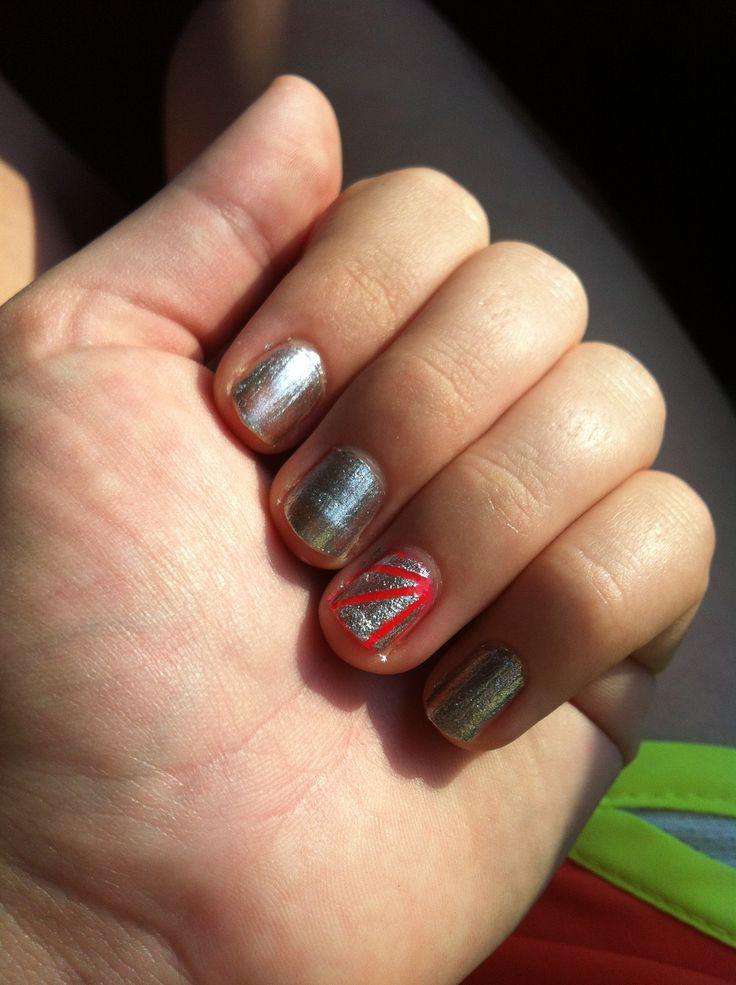 Nail design using striping tape | .nails - tape | Pinterest