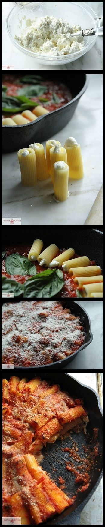 Skillet Baked Stuffed Rigatoni...did ricotta and mozza cheese instead ...