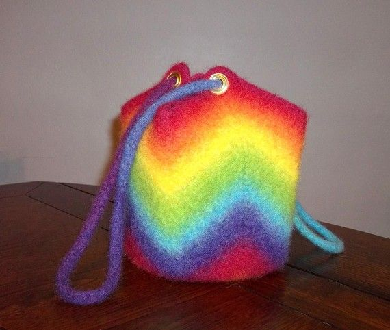 Rainbow Ripple Felted Purse or Bag, Crochet PDF Pattern Only-Instant ...