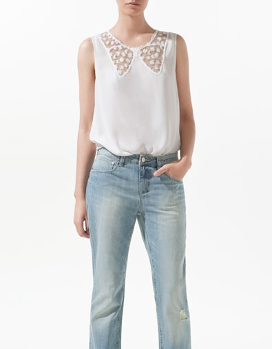 Zara Lace Blouse With Bow Neckline 113