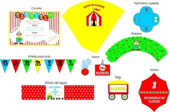 Faça sua festa (aniversário, chá de cozinha/panela, chá bar, chá de bebê, etc.) com o KIT FESTA IMPRESSA da New Mídia.  O KIT contém: - Convite ; - Rótulo para Garrafa dágua ou vasos; - Cones para balinhas ou amendoins; - TAG para Lembrancinhas; - Adesivo para Pirulito  - Toppers para Cupcake - Forminha/Wrappers  - Forminha para doces; - Quadrinho de boas-vindas; - Flags para Canudinho; - Bandeirolas.  INFORMAÇÕES IMPORTANTES:  Nesta opção de KIT, você não receberá nada pelos Correios, recebe...