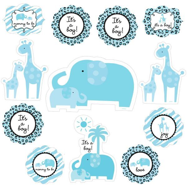 Blue safari baby shower cutouts 12ct for Baby shower decoration cutouts