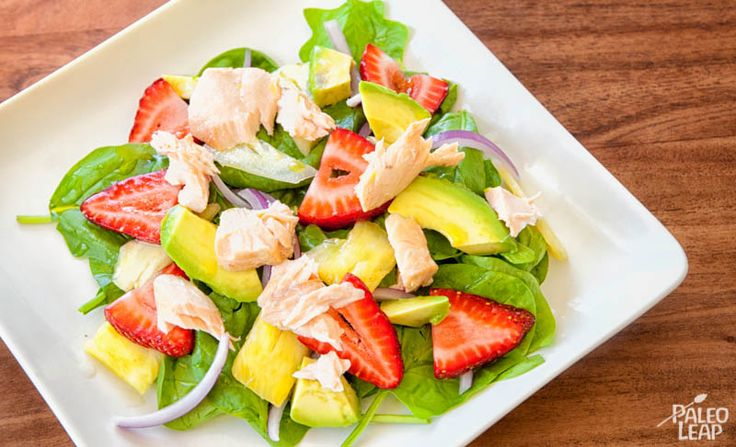 Spinach Strawberry Avocado Salmon Salad with Pineapple dressing.