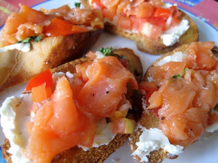 Smoked Salmon Bruschetta with Tomato-Avocado Salsa | Recipe